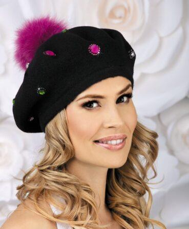 Caciula de dama stil bereta cu pompon din blanita Emiliana