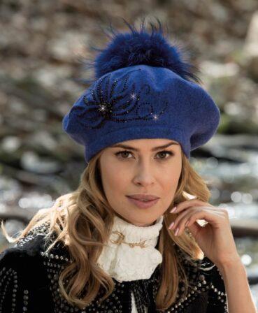 Caciula de dama stil bereta cu pompon din blanita Sisjaneta