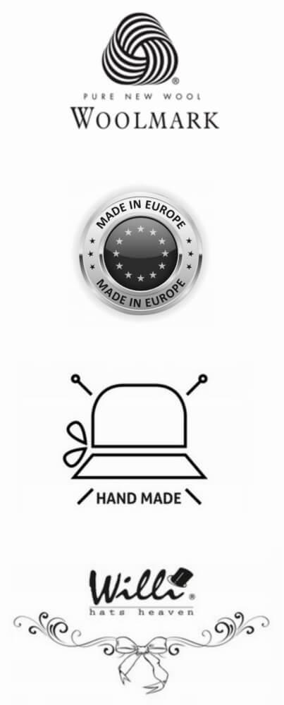 Logo-uri si marcaje: Woolmark, Made in Europe, Handmade, Willi Hats Heaven